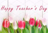 Pictures Of Happy Teachers Day Card Happy Teachers Day with Tulip Flower Message for Teacher In