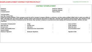 Pilot Employment Contract Template Private Pilot Employment Contract
