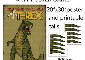Pin the Tail On the Dinosaur Template Printable Diy Pin the Tail On Trex Dinosaur Party Game Poster