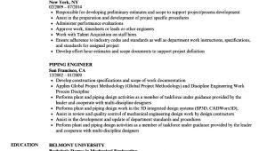 Piping Engineer Resume Doc Piping Engineer Resume Samples Velvet Jobs