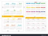 Pocket Calendar Template 2017 Horizontal Pocket Calendar On 2017 Year Stock Vector