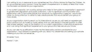 Policy Advisor Cover Letter Policy Advisor Cover Letter Sample Cover Letter