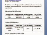 Polytechnic Fresher Resume format Mechanical Diploma Resume format for Freshers
