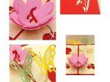 Pop Up Card Flower and butterfly 3d Flower butterfly Pop Up Card and Envelope Pink Flower