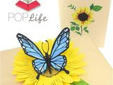 Pop Up Card Flower and butterfly Blue butterfly and Sunflower Pop Up Card – Poplife