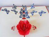Pop Up Card Flower and butterfly butterflies Flowers 3d Pop Up Card Birthday