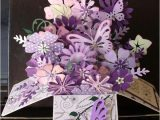 Pop Up Card Flower and butterfly Purple Flowers butterflies Pop Up Card Box by