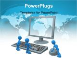 Powerpoint Templates Computer theme Powerpoint Template Three Blue Colored 3d Men with