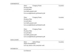 Printable Blank Resume Template Free Blank Resume Templates to Print Free Printable Resume