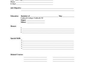 Printable Blank Resume Template Free Free Printable Blank Resume forms Career Termplate Builder