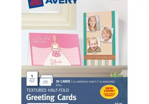Printable Greeting Card App for Ipad Avery Half Fold Textured Greeting Cards 5 12 X 8 12 White