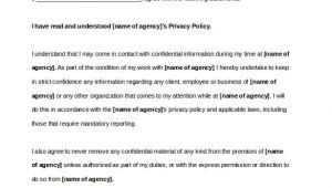 Privacy Contract Template 10 Confidentiality Agreement Templates Word Excel