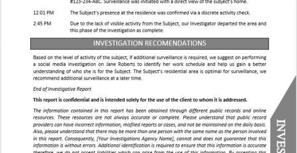 Private Investigator Surveillance Report Template Private Investigator Report Template Document Downloads