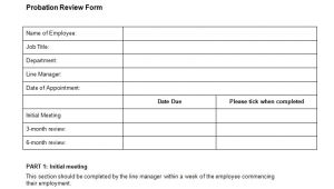 Probation Meeting Template Probation Review form Template Bizorb