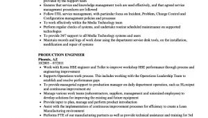 Production Engineer Responsibilities Resume Production Engineer Resume Samples Velvet Jobs