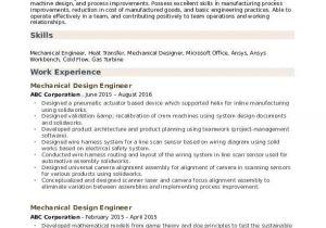 Production Engineer Resume Pdf Mechanical Design Engineer Resume Samples Qwikresume