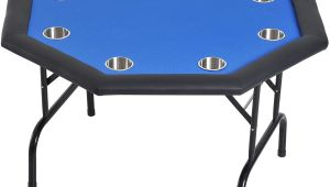 Professional Card Table and Chairs soozier 48 8 Player Octagon Poker Table with Cup Holders Folding Blue Felt