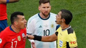 Professional Football Red Card Fine Lionel Messi Claims Corruption after Red Card at Copa America