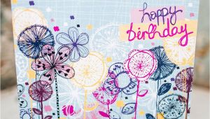 Professional Greeting Card Printers Uk Quirky Floral Stems Birthday Card Exclusively Hand Drawn