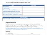 Project Acceptance form Template Project Acceptance Document