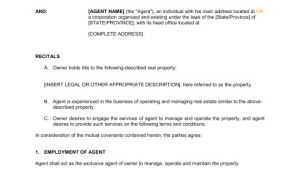 Property Manager Contract Template Property Management Agreement Template Word Pdf by