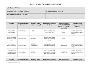 Property Risk assessment Template Film Production Risk assessment form