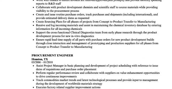 Purchase Engineer Resume Doc Resume Examples for Procurement Engineer Procurement