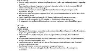 Qa Lead Resume Sample Qa Lead Resume Samples Velvet Jobs