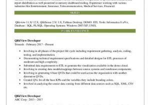 Qlikview Sample Resumes Qlikview Developer Resume Samples Qwikresume