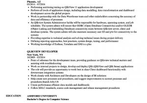 Qlikview Sample Resumes Qlikview Developer Resume Samples Velvet Jobs