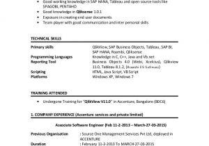 Qlikview Sample Resumes Qlikview Resume