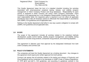 Quality Agreement Template Contract Laboratory Analytical Quality Agreement Template
