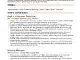 Quality assurance Engineer Resume Pdf Quality assurance Technician Resume Samples Qwikresume