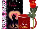 Quotes for A Valentine Card My forever Valentine Greeting Card Mug Hamper Musical Red Flower with Ring Hamper
