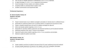 Radiation therapy Resume Templates Example for Radiation therapist Resume Radiation therapy