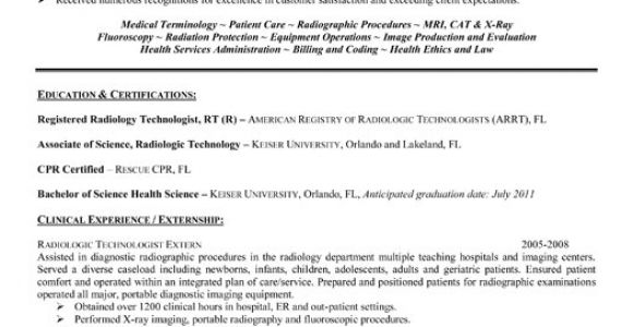 Radiologic Technologist Student Resume Resume format Sample Resume X Ray Technologist