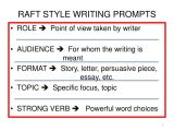 Raft Writing Template Ppt R A F T S Writing Prompts Powerpoint Presentation