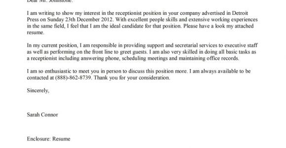 Receptionist Cover Letter Samples Free Receptionist Cover Letter Template