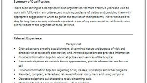 Receptionist Resume format for Fresher Over 10000 Cv and Resume Samples with Free Download