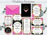 Recipe for A Happy Marriage Card Template Wedding Invitation Set Flower Rose Pink Template