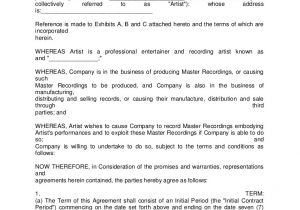 Record Label Artist Contract Template Artist Recording Contract 3
