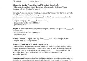 Record Label Artist Contract Template Independent Label Recording Contract