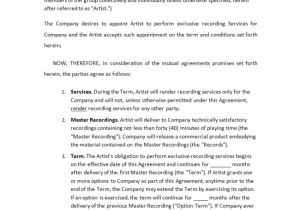 Record Label Resume Sample Recording Contract Template Record Label Agreements