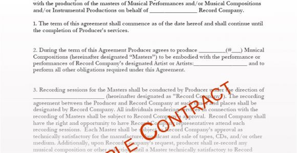 Record Producer Contract Template Music Producer Contract Templates Music Production