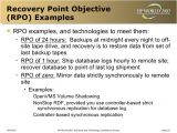 Recovery Point Objective Template Disaster tolerant Cluster Technology and Implementation