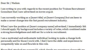 Recruitment Consultant Cover Letter No Experience Trainee Recruitment Consultant Cover Letter Icover org Uk