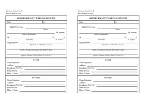Reimbursement Receipt Template Reimbursement Expense Receipt