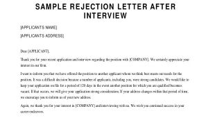 Rejection Email Template after Interview Sample Rejection Letter 10 Examples In Word Pdf