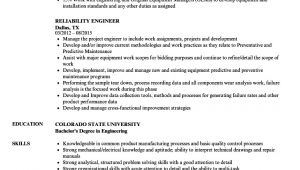 Reliability Engineer Resume Reliability Engineer Resume Samples Velvet Jobs