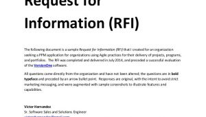Request for Information Email Template Sample Request for Information Rfi Document